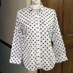 KAREN SCOTT Petites Polka Dot Shirt - M - LIKE NEW